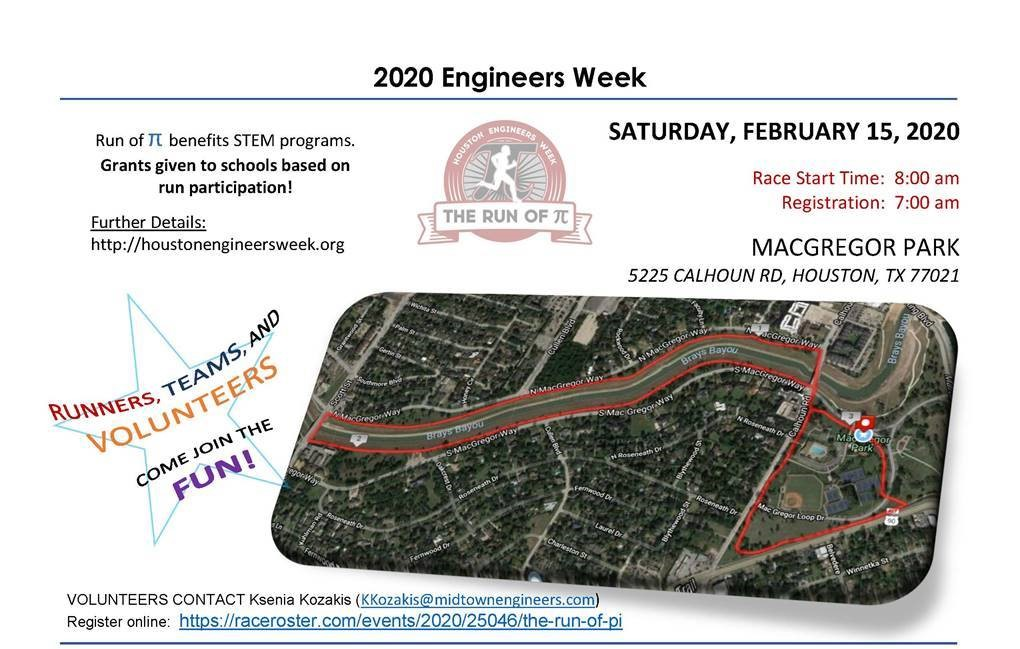 Houston Engineers Week Fun Run– The Run of π