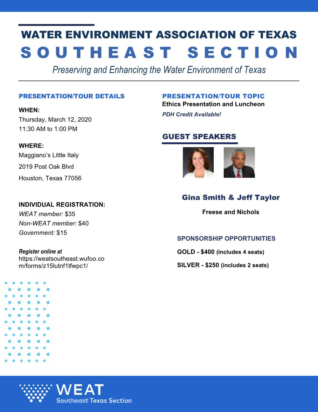 WEAT March Section Meeting – Ethics Seminar
