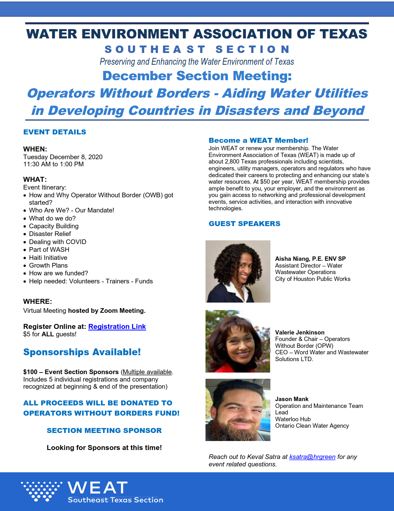 WEAT 2020 – December Section Meeting
