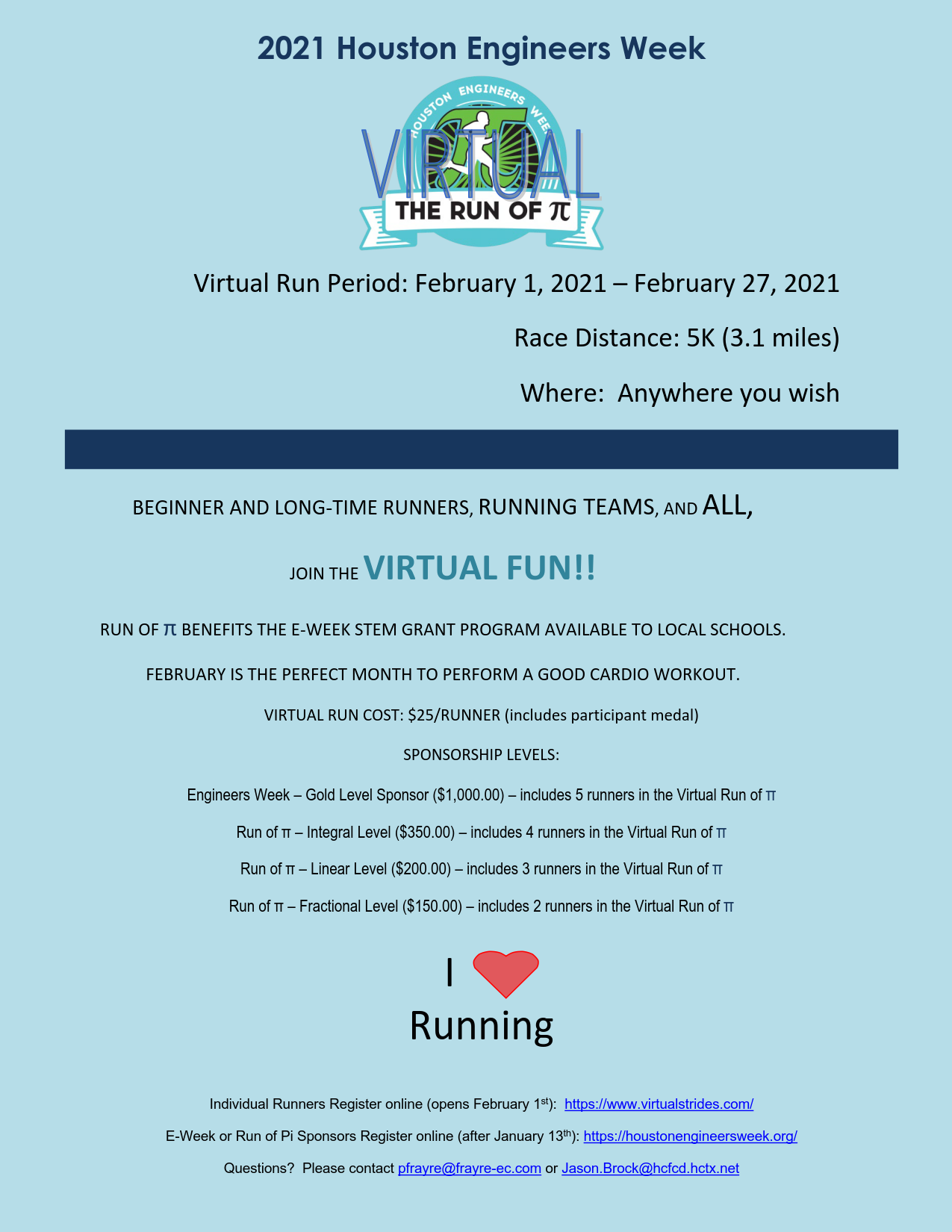 WEAT 2021 – Houston Engineers Week – Run of Pi Virtual Fun Run