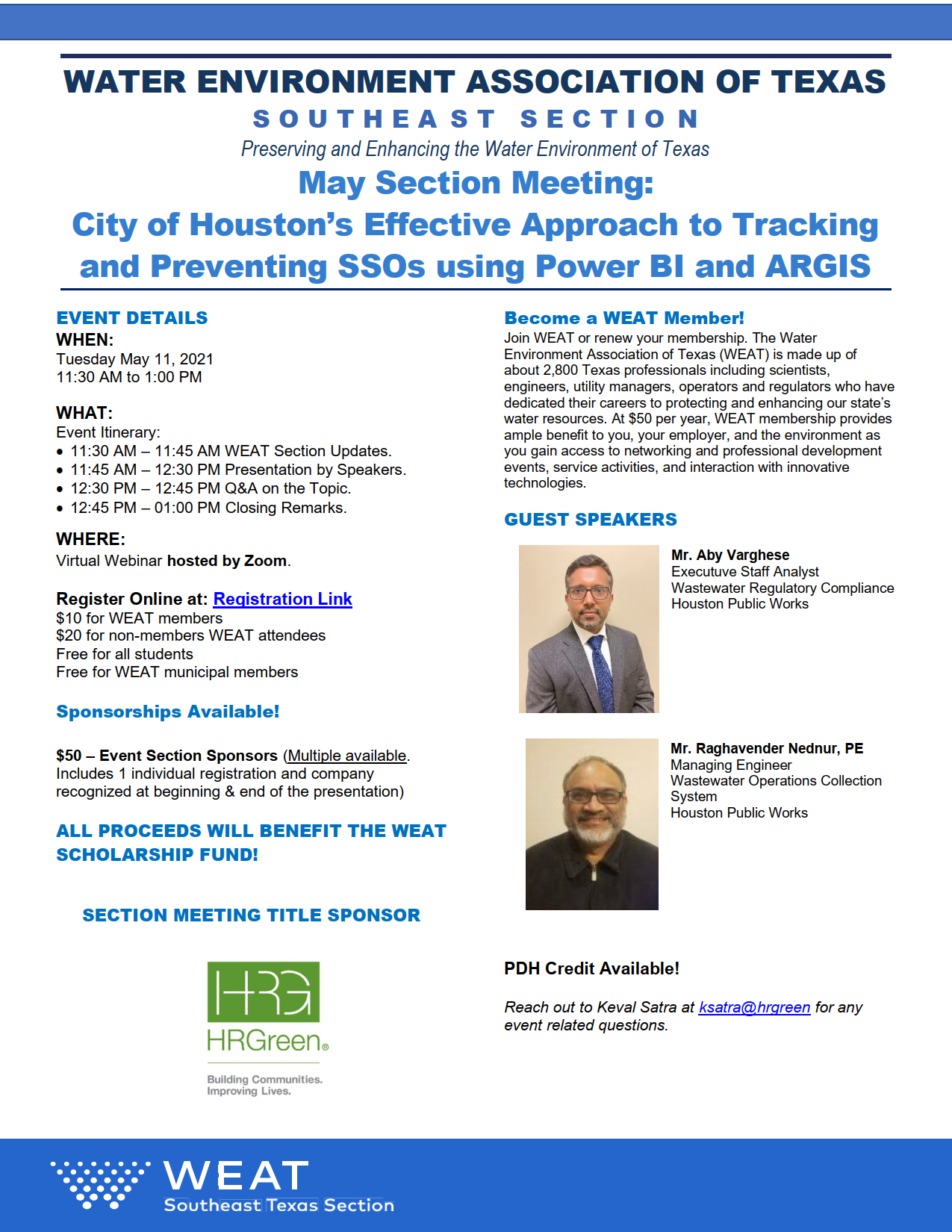 WEAT 2021 – May Section Meeting
